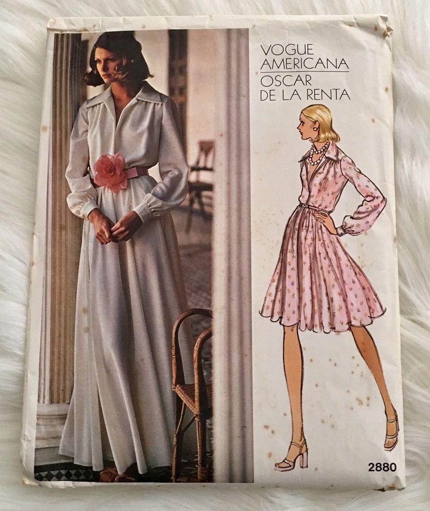 9168fa8b20 Vogue 2880 Sewing Pattern 70 s Vintage Oscar De La Renta Classic Evening  Dress