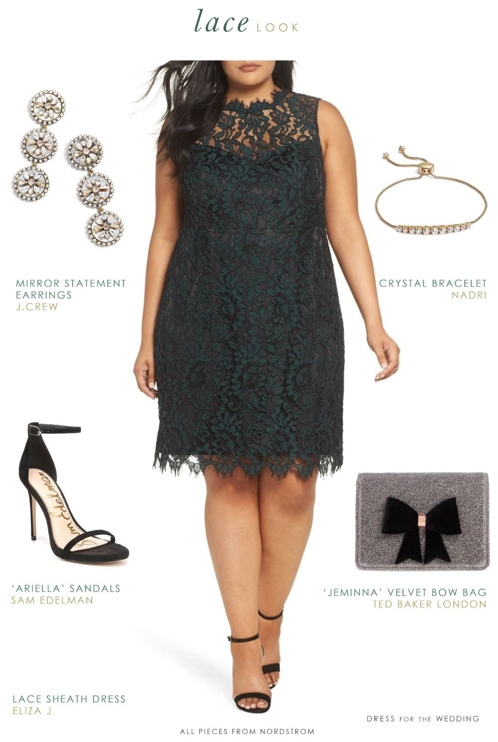 79cc96e776 Winter date or wedding guest outfit - Dark green lace dress with  accessories.  weddingguest  lacedress  plussize  dresses  outfits