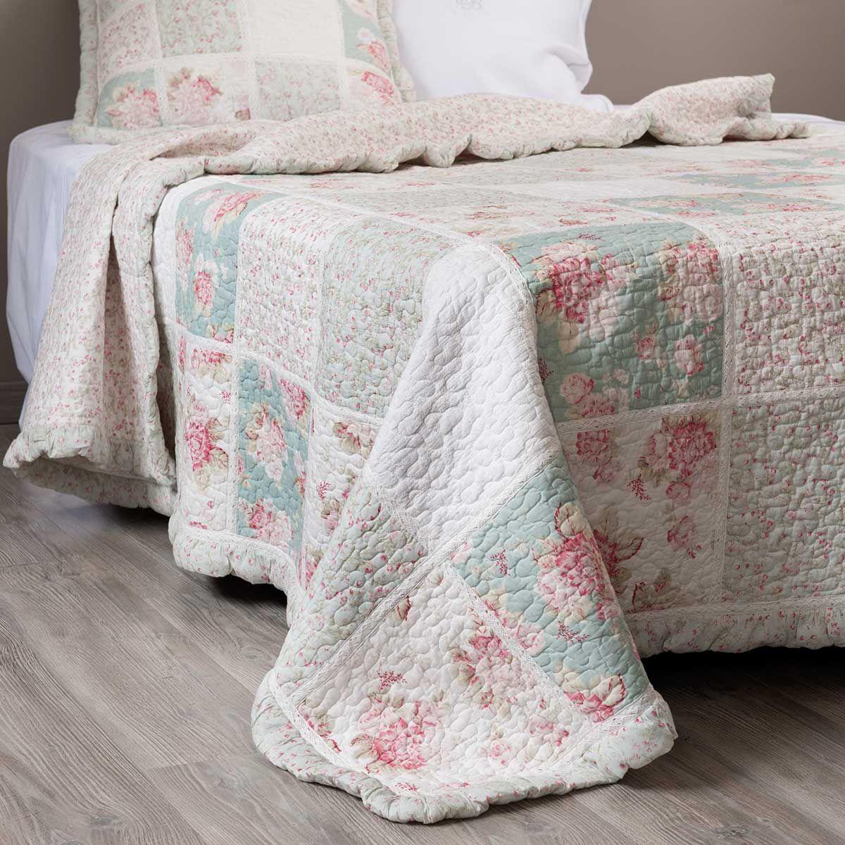 quilt gebl mt aus baumwolle 240 x 260 cm gr n rosa ideen rund ums haus pinterest. Black Bedroom Furniture Sets. Home Design Ideas