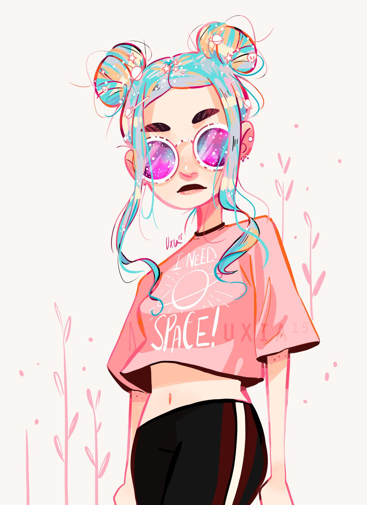 Space Buns Are Back Cute Girl Drawing Space Girl Art Girl Drawing