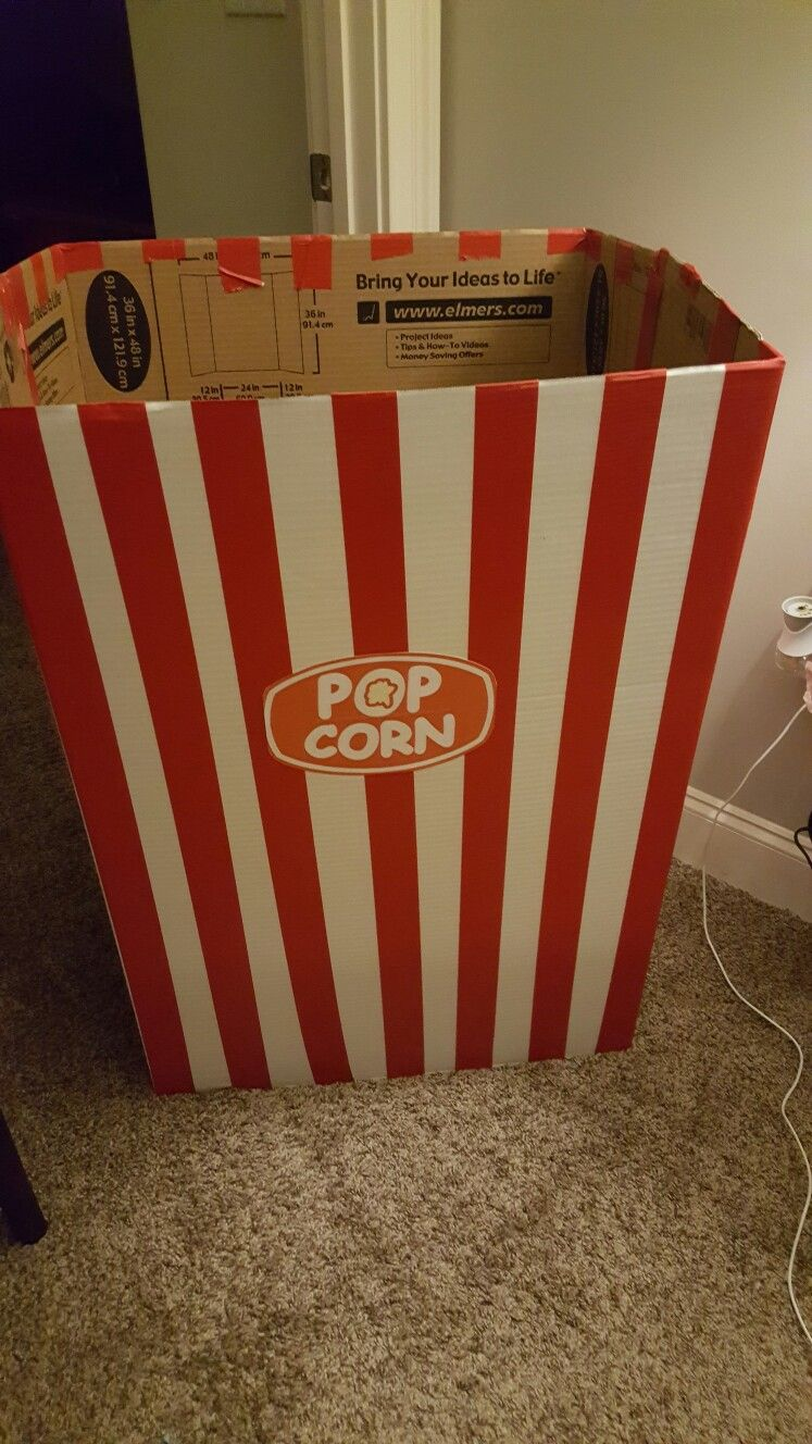 DIY giant popcorn box for movie party