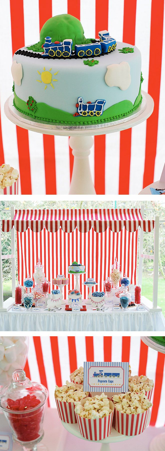All Aboard! Train Party Lolly Buffet with awesome train birthday cake, popped popcorn and blue and red sweet treats!