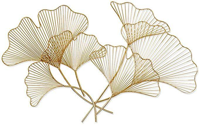 Amazon Com Sankonrtran Handmade Creative Asian Metal Wall Art Ginkgo Leaf In Stainless Steel For Living Room Ba Dessin Fleur Motifs Art Nouveau Dessin Feuille