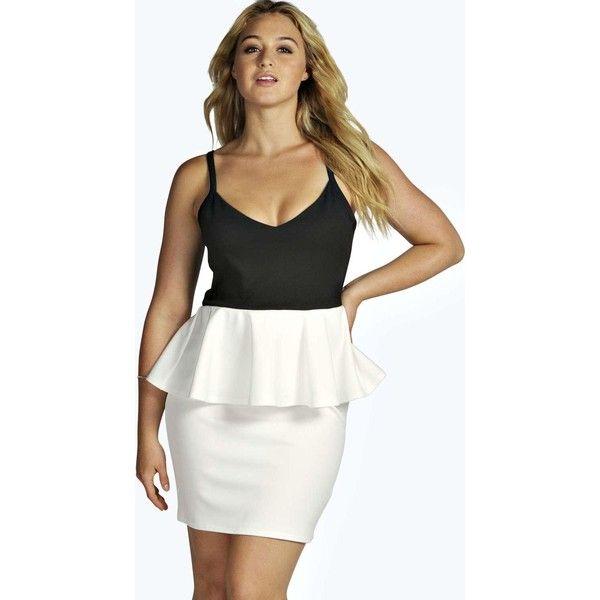 Boohoo Plus Plus Lois Contrast Peplum Bodycon Dress ($26) ❤ liked ...