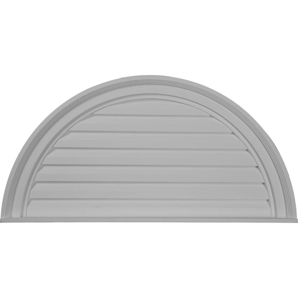 Ekena Millwork 32 In X 16 In Half Round Primed Wood Paintable Gable Louver Vent Gvhr32d The Home Depot In 2020 Arched Window Coverings Arched Window Treatments Half Moon Window