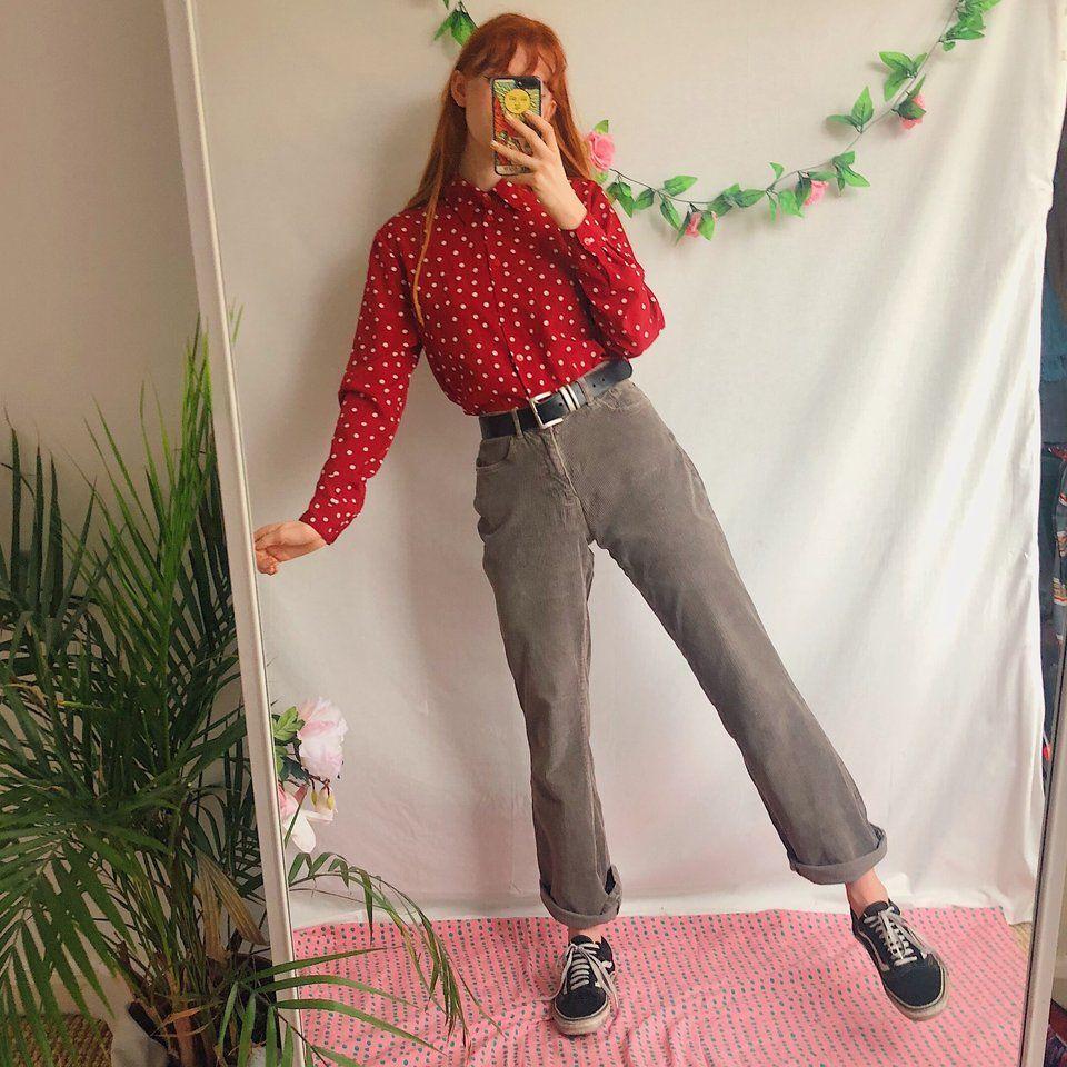 Goorrrgous light grey vintage cord trousers 🍓 in a super u - Depop 7cd85ee226e