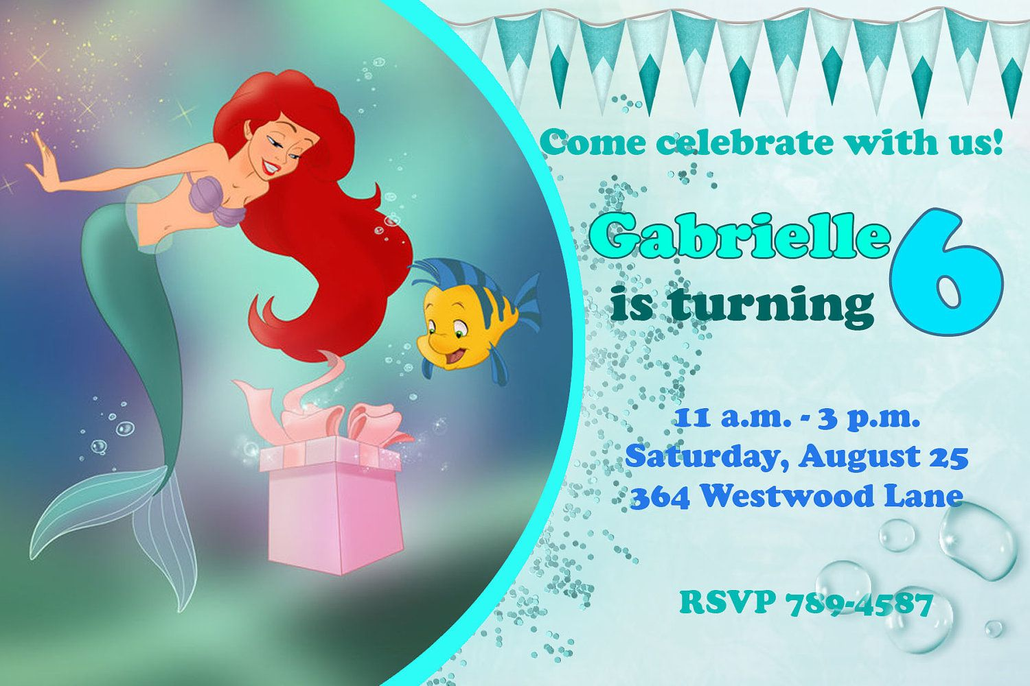 ariel the little mermaid happy birthday party invitation