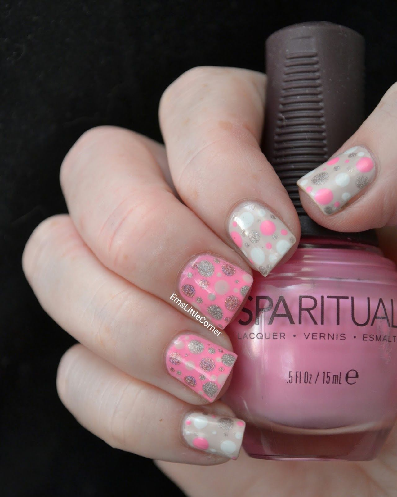 Emmaus little corner pink and holo dots passion for nails