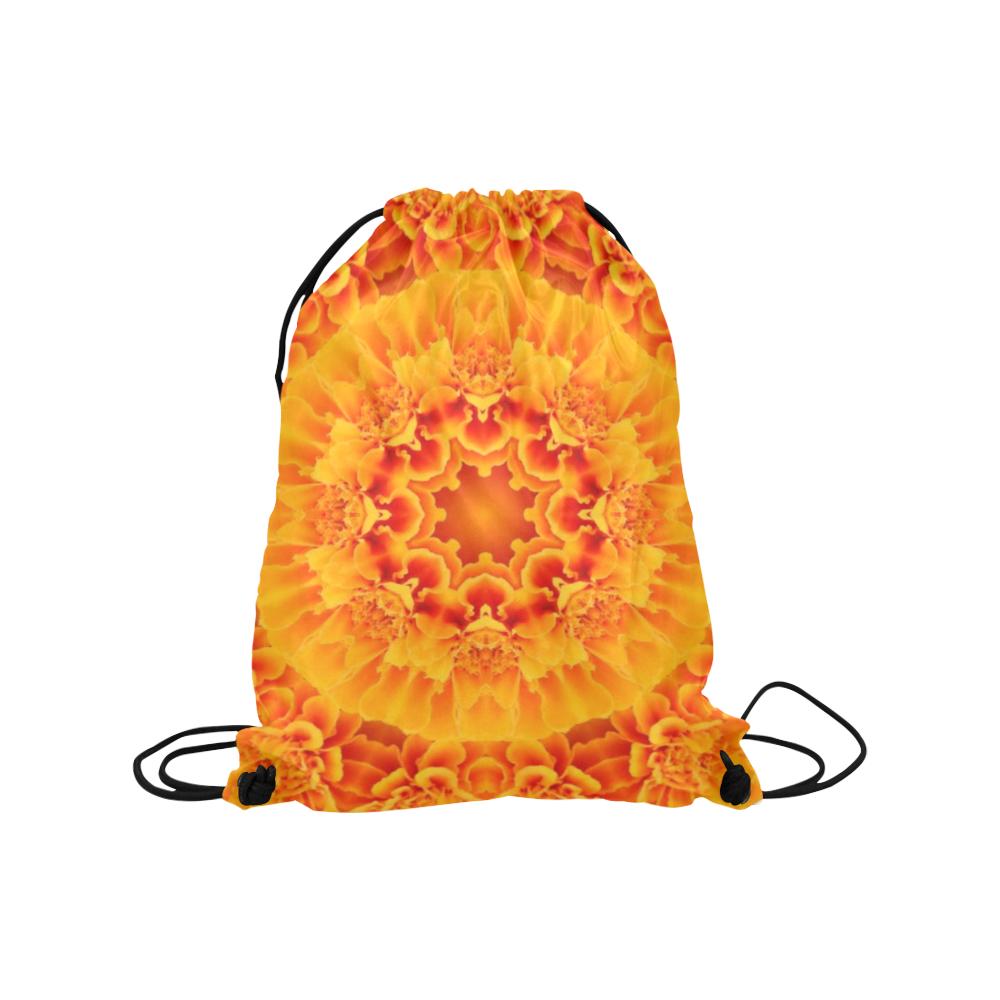 Orange Marigold Mandala Medium Drawstring Bag Model 1604