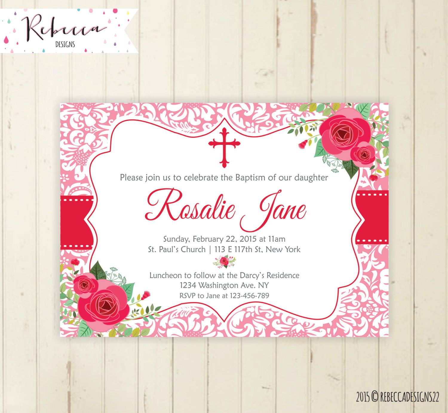 Girl baptism invitation pink baptism first communion christening ...