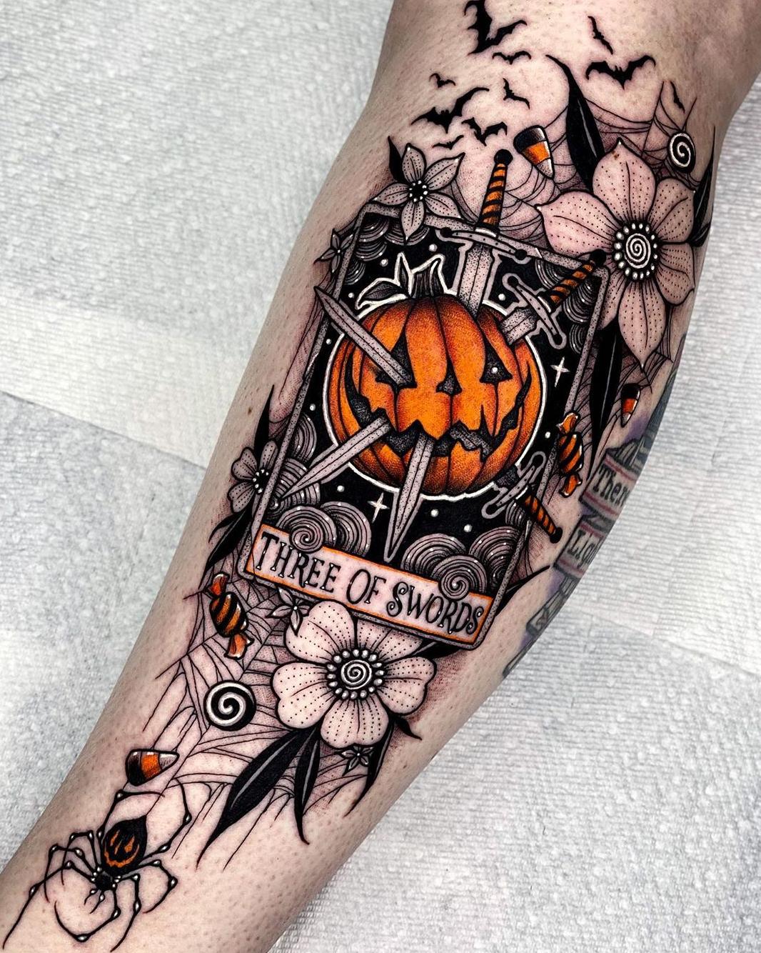 Three of Swords Halloween Tarot Tattoo