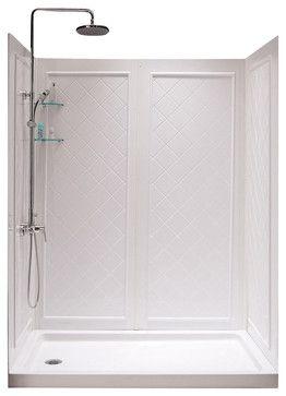 Slimline Single Threshold Shower Base And Qwall 5 Shower Backwalls