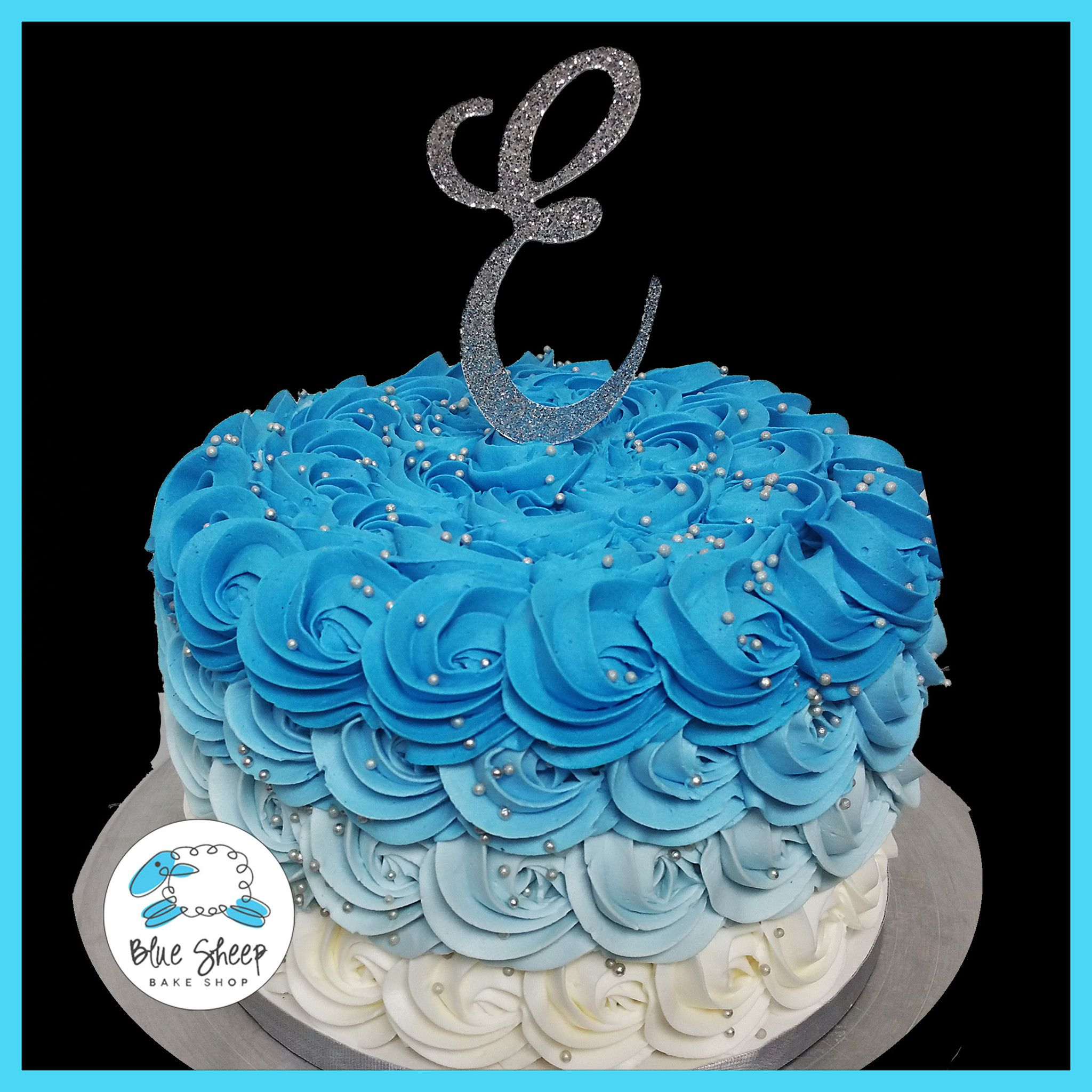 Blue Reverse Ombre Buttercream Rosette Cake With Images