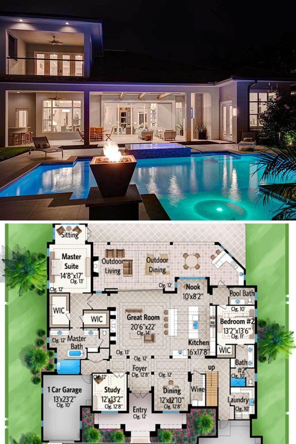 4 Bedroom Two Story Florida Home With Rec Room Floor Plan In 2020 Florida House Plans Pool House Plans Luxury Floor Plans