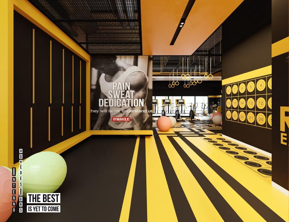 Black Yellow Gym On Behance Gym Design Interior Gym Interior Home Gym Design