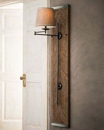 Wood Panel Sconce Allows For Hidden Electrical Cord Idea For