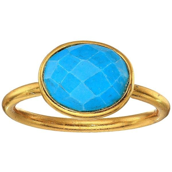 df436cb30bb68c Dee Berkley Single Oval Stone Adjustable Ring Turquoise (Turquoise)...  ($54) ❤ liked on Polyvore featuring jewelry, rings, oval stone ring, green  turquoise ...
