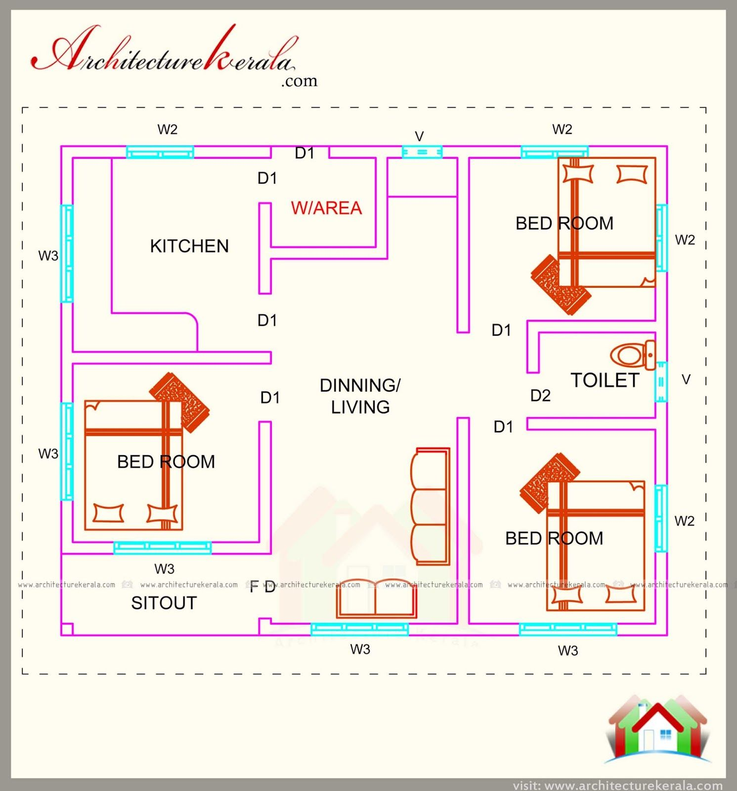 760 Square Feet 3 Bedroom House Plan Architecture Kerala Bedroom House Plans Rustic House Plans Bedroom Floor Plans