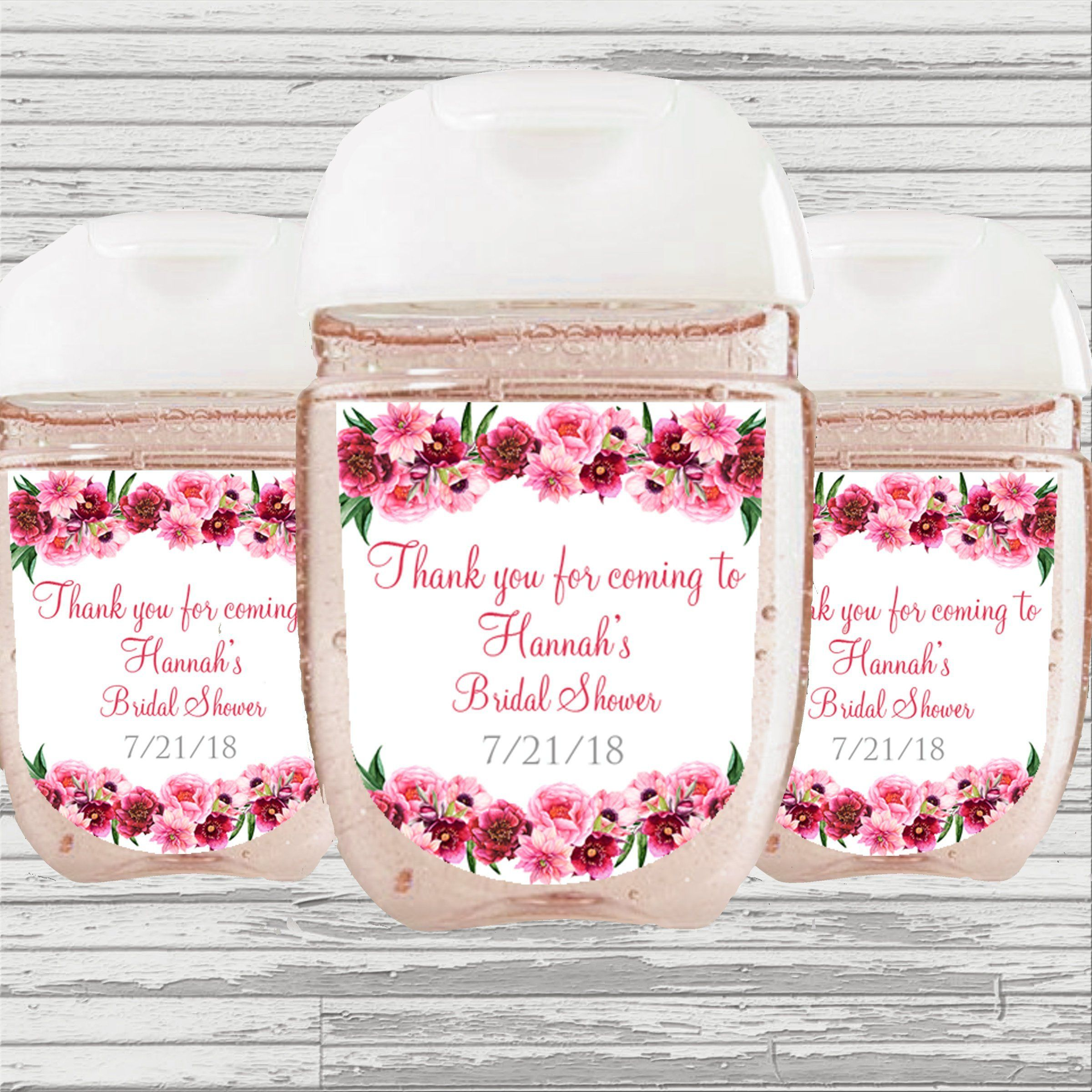 Pink Flower Bridal Baby Shower Graduation Favor Hand Sanitizer