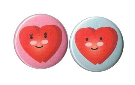 Button set   Mr & Mrs Heart Kawaii by RemmersRowCounter on Etsy, $2.50