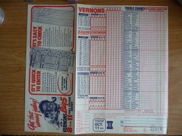 1949 Vernon s Football Pool Advertising Promotional Coupon