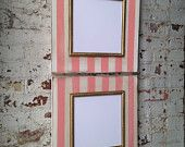 Set of 2 10x10 Distressed Striped Coral Bead and Vintage White Frames with Tiny dot Gold Trim