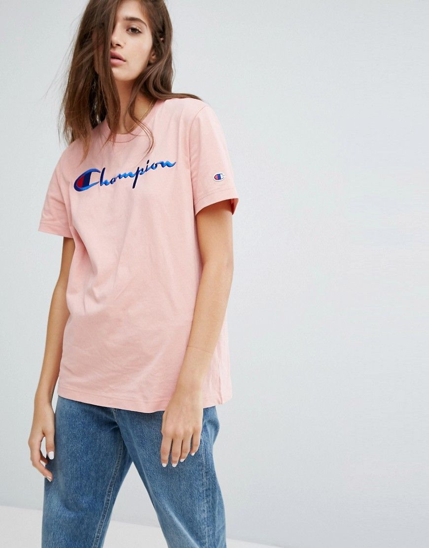4c8e499ff Discover women s fashion online with ASOS. Champion Oversized T-Shirt With  Front Logo - Pink