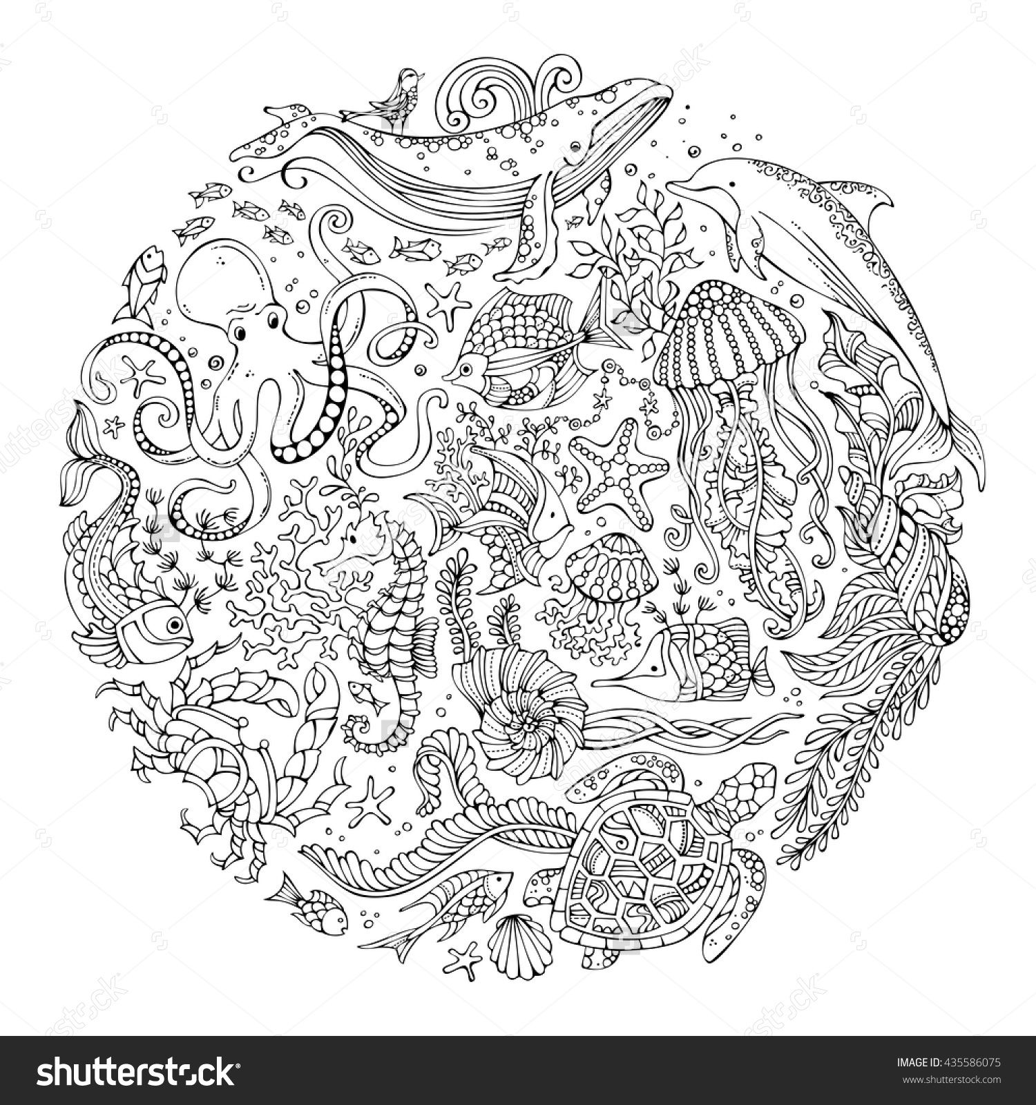 Circle Vector Set Of Doodles Wild Sealife Contours Of Whale Dolphin Turtle Fish Starfish Crab Coloring Books Mandala Coloring Pages Fall Coloring Pages