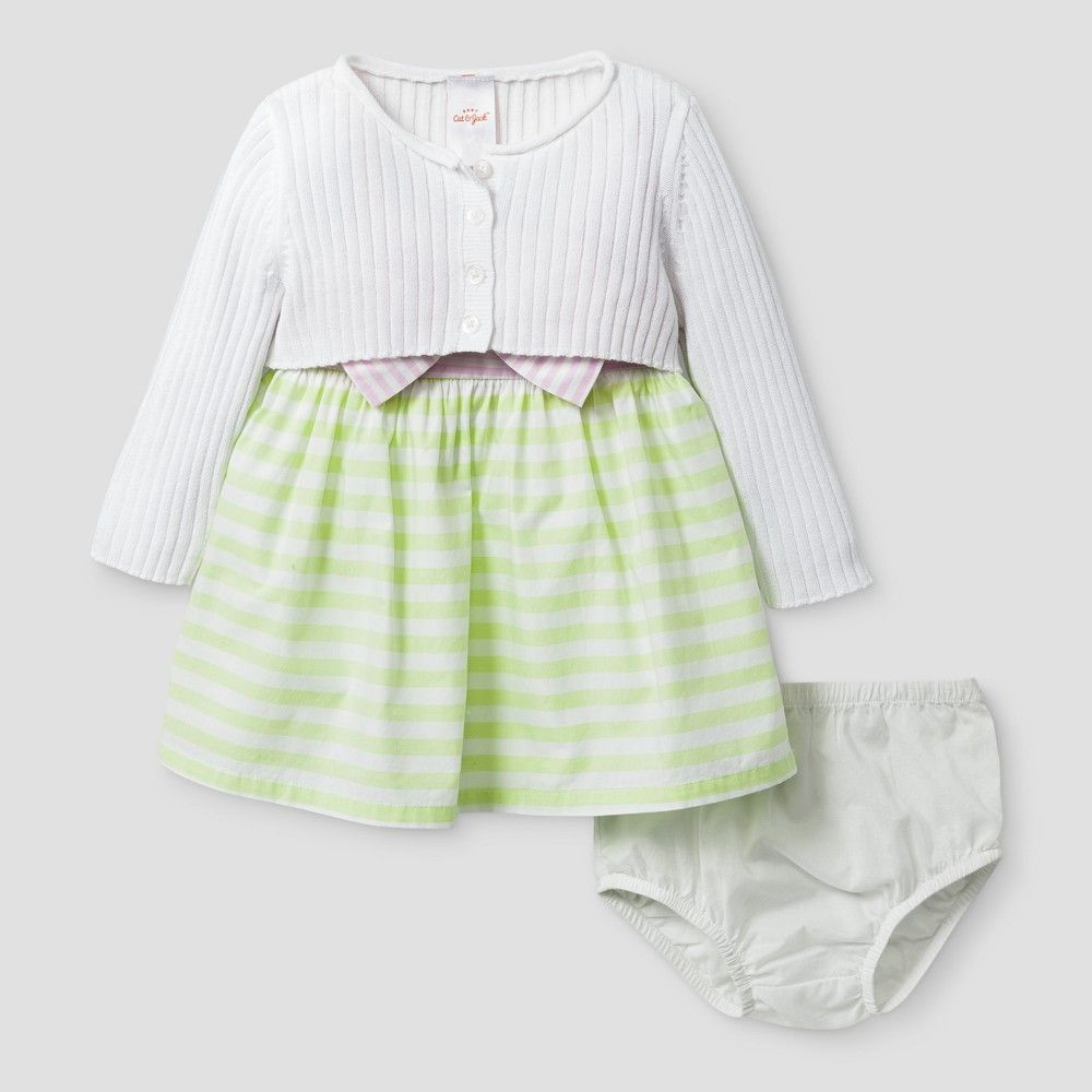 2eb1c20f8cbc Baby Girls  Cardigan and Block Dress - Cat   Jack White Stripe 3-6 ...