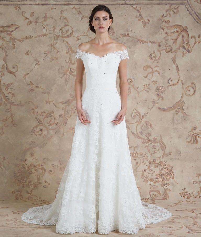 Cute Sareh Nouri Fall A line lace wedding dress with sheer off the