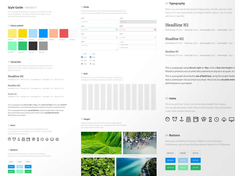 Sketch App free sources, Style Guide Template resource, for