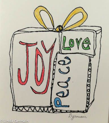 Peace Love and Joy thermofax screen print with hand coloring - a mixed media print by linda germain
