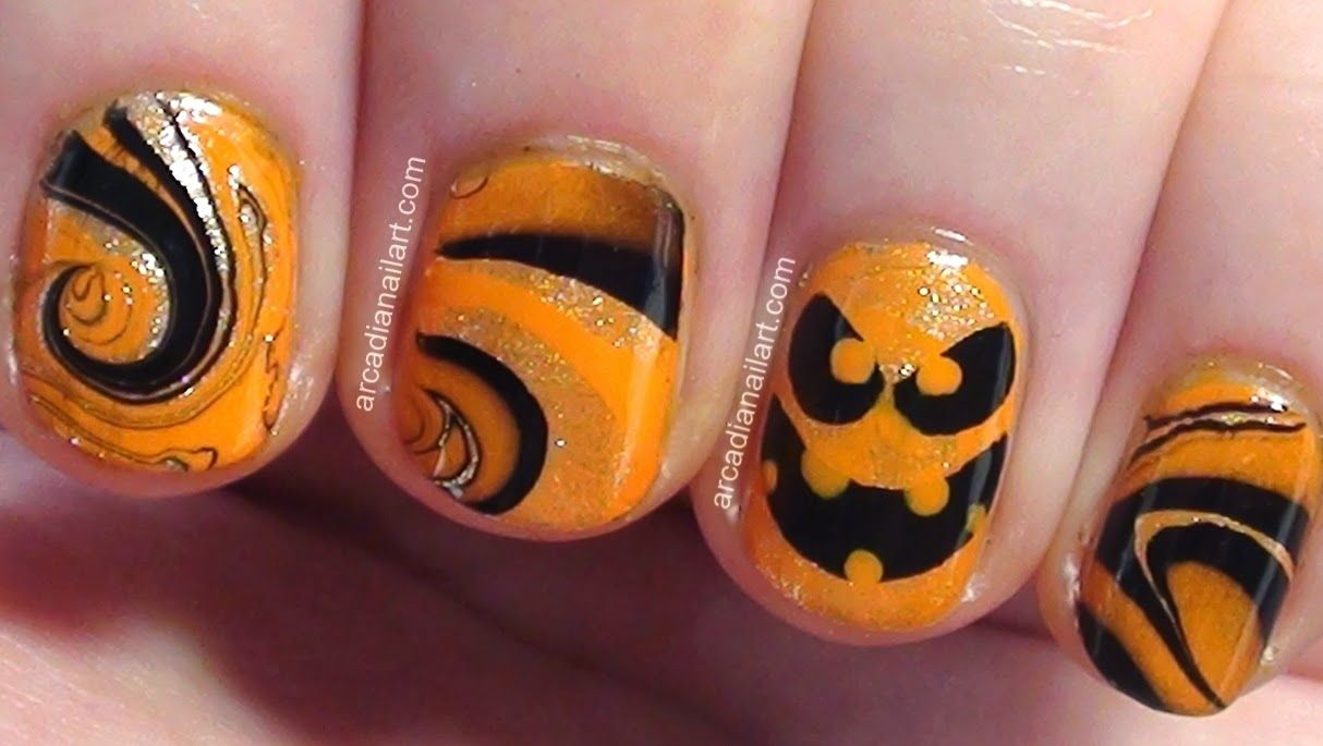 Easy Halloween Pumpkin Water Marble Nail Art, Jack O Lantern, Short ...