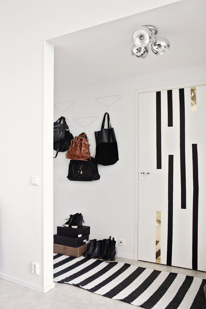 Black and white hallway