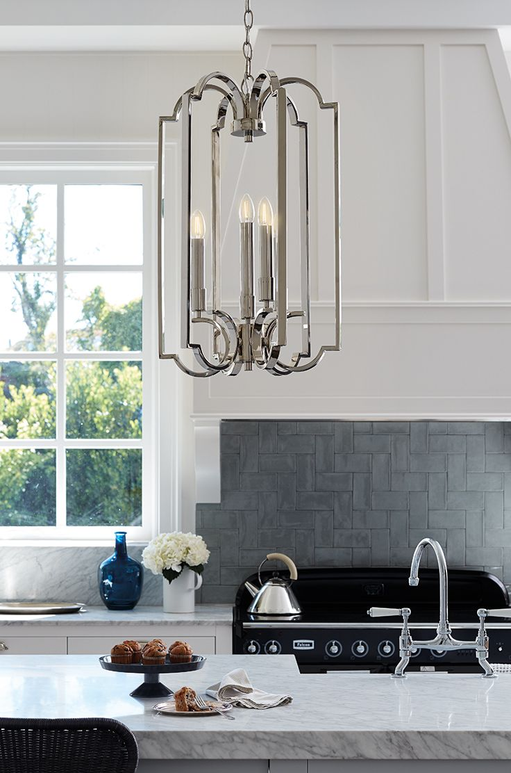 The Beacon Lighting Leon 4 light pendant in polished nickel ...
