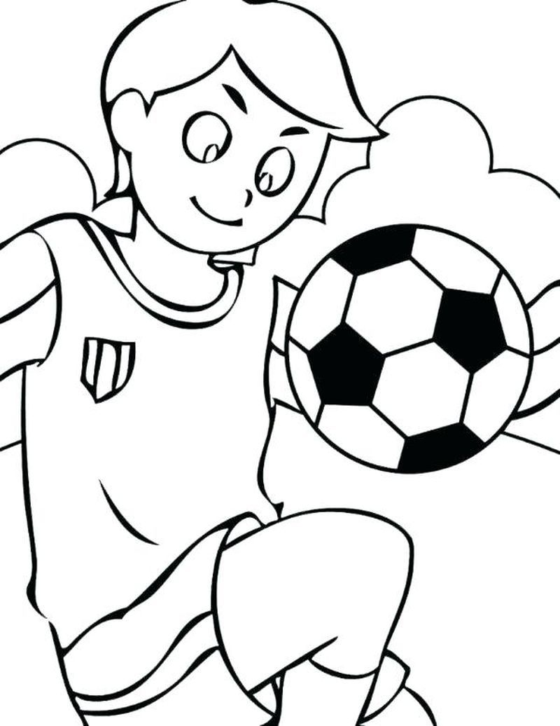 Nice Soccer Cartoon Playing Football Coloring Page Football