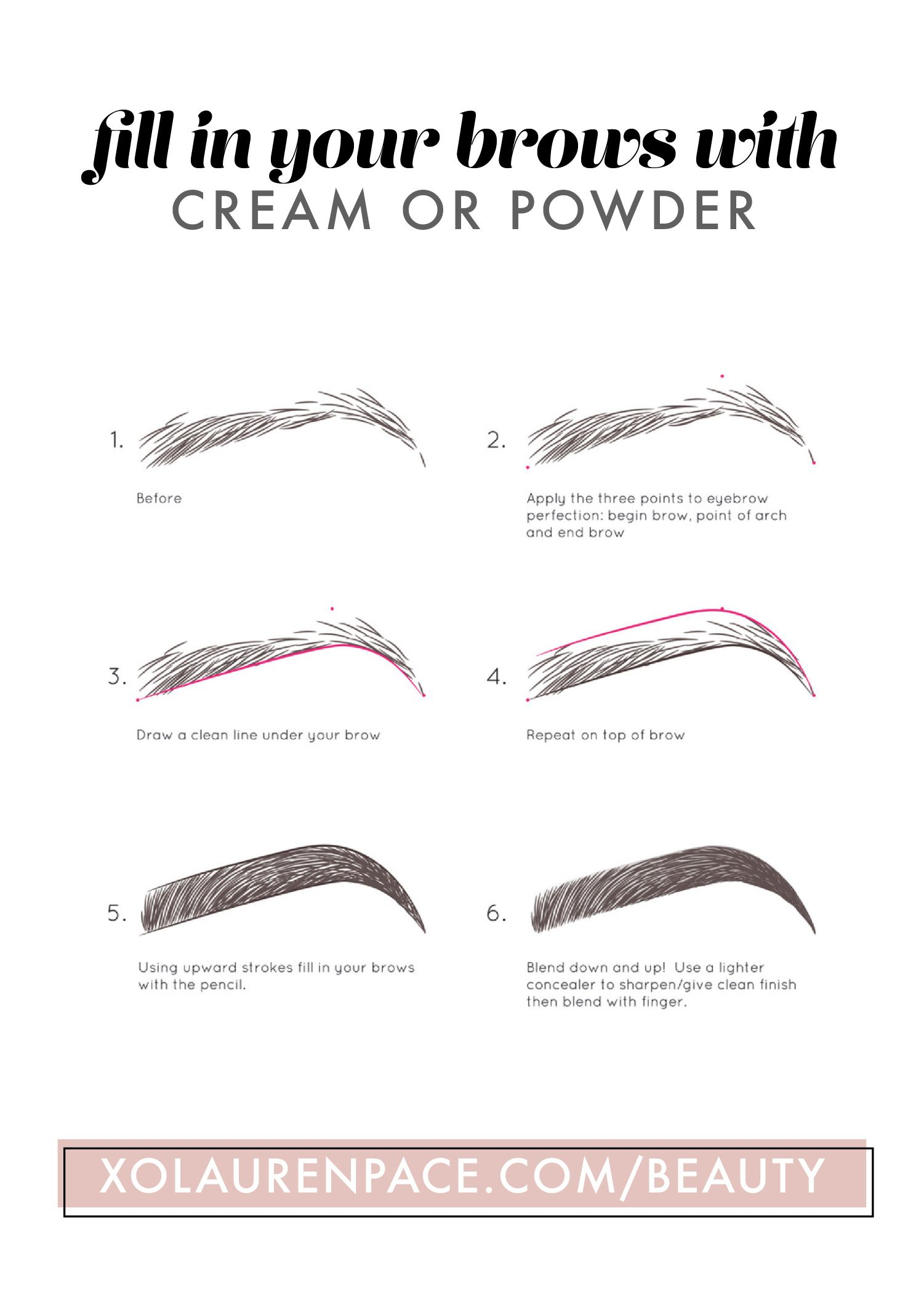 Map out your eyebrows, then draw a line under and a line over. Fill in the brow with upward strokes. Blend with a spoolie and you've filled in your brows successfully. #eyebrowstutorial