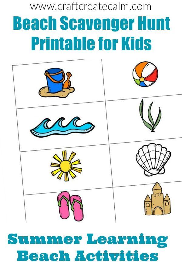 Beach Scavenger Hunt Printable for Kids | Pinterest | Unit studies ...