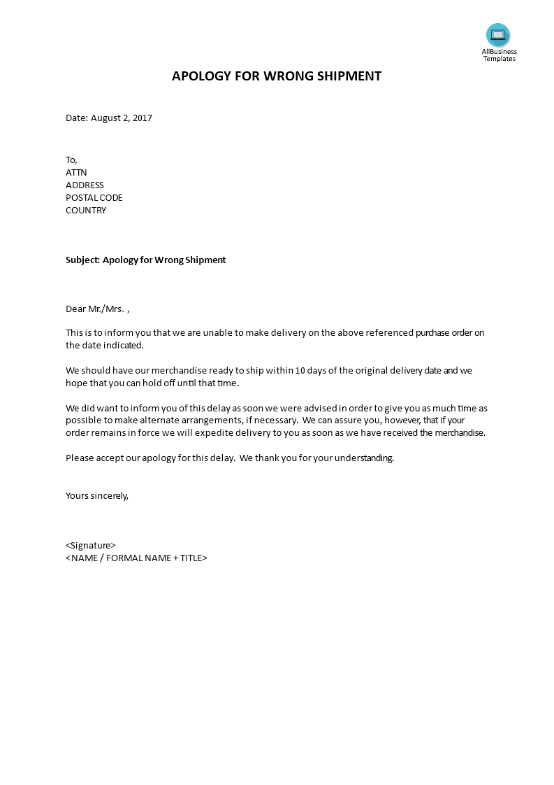 Sample Apology Letter To Customer For Delay In Delivery from i.pinimg.com