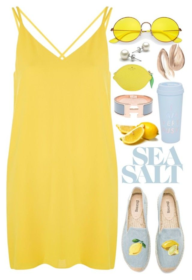"""""""Sea Salt"""" by kristen-mys ❤ liked on Polyvore featuring Topshop, Soludos, ban.do, Hermès, Kate Spade and Ray-Ban"""