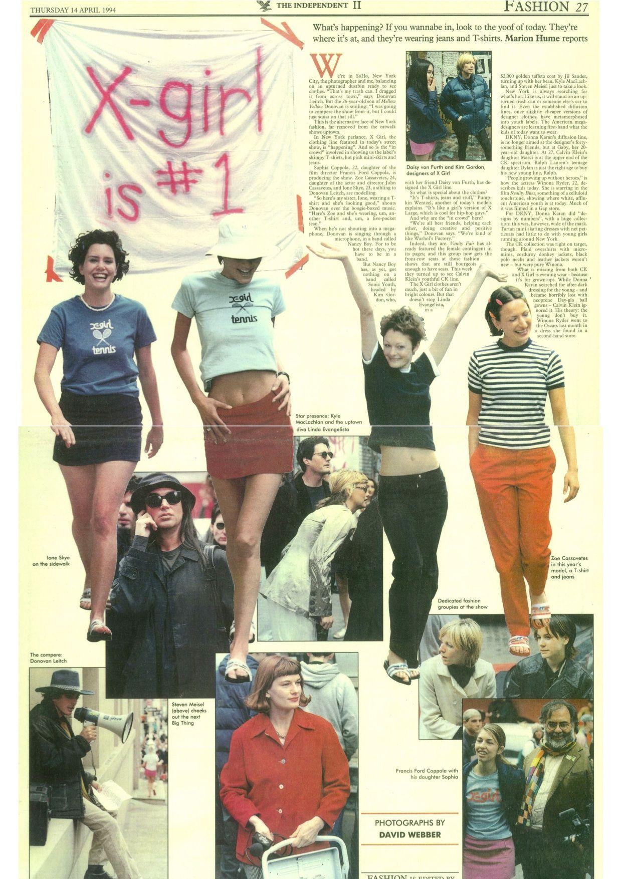 X-Girl article featuring Sofia Coppola, Kim Gordon, Zoe, Ione, Donovan  Leitch, Steven Meisel, Linda, Kyle etc | By Marion H… | Vintage fashion,  Fashion, 90s fashion