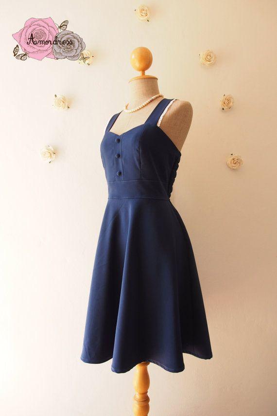 Navy Bridesmaid Dress Navy Tea Dress Vintage Inspired by Amordress