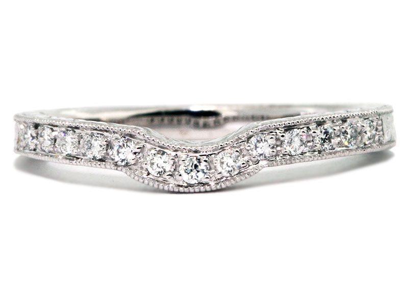 Bead Set Diamond Curved Wedding Band