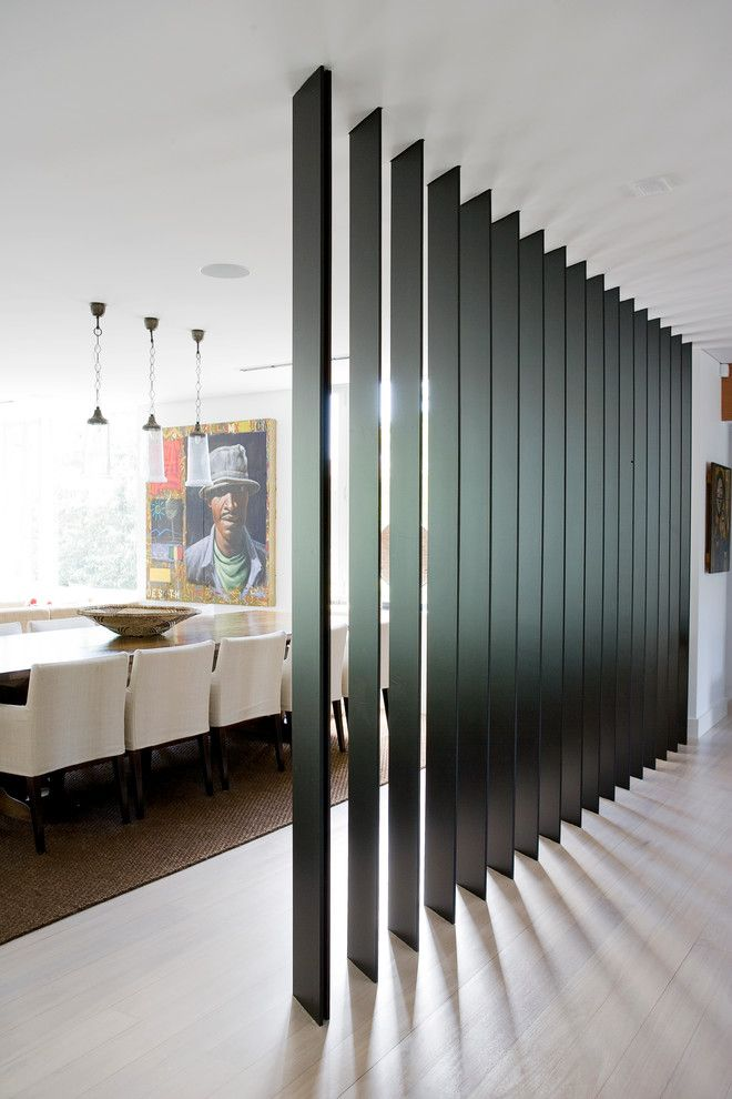 Interior Partitions Room Zoning Design Ideas. Black wooden wall ...