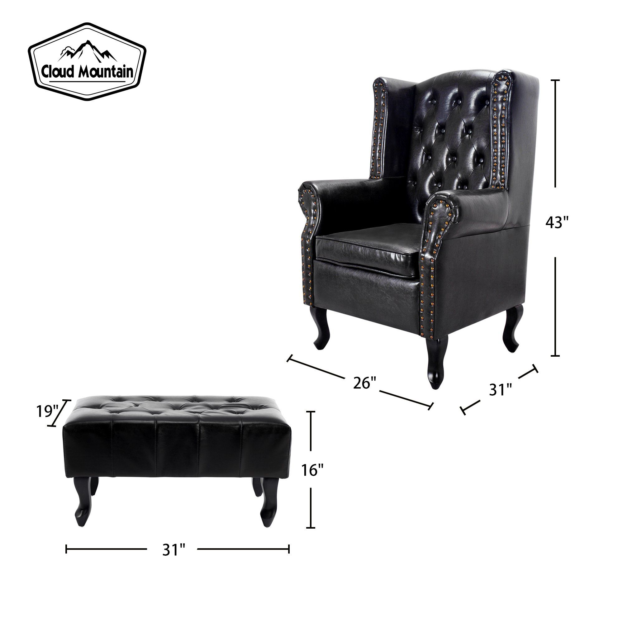 Cloud Mountain Tufted Accent Chair And Ottoman Black Leather Club