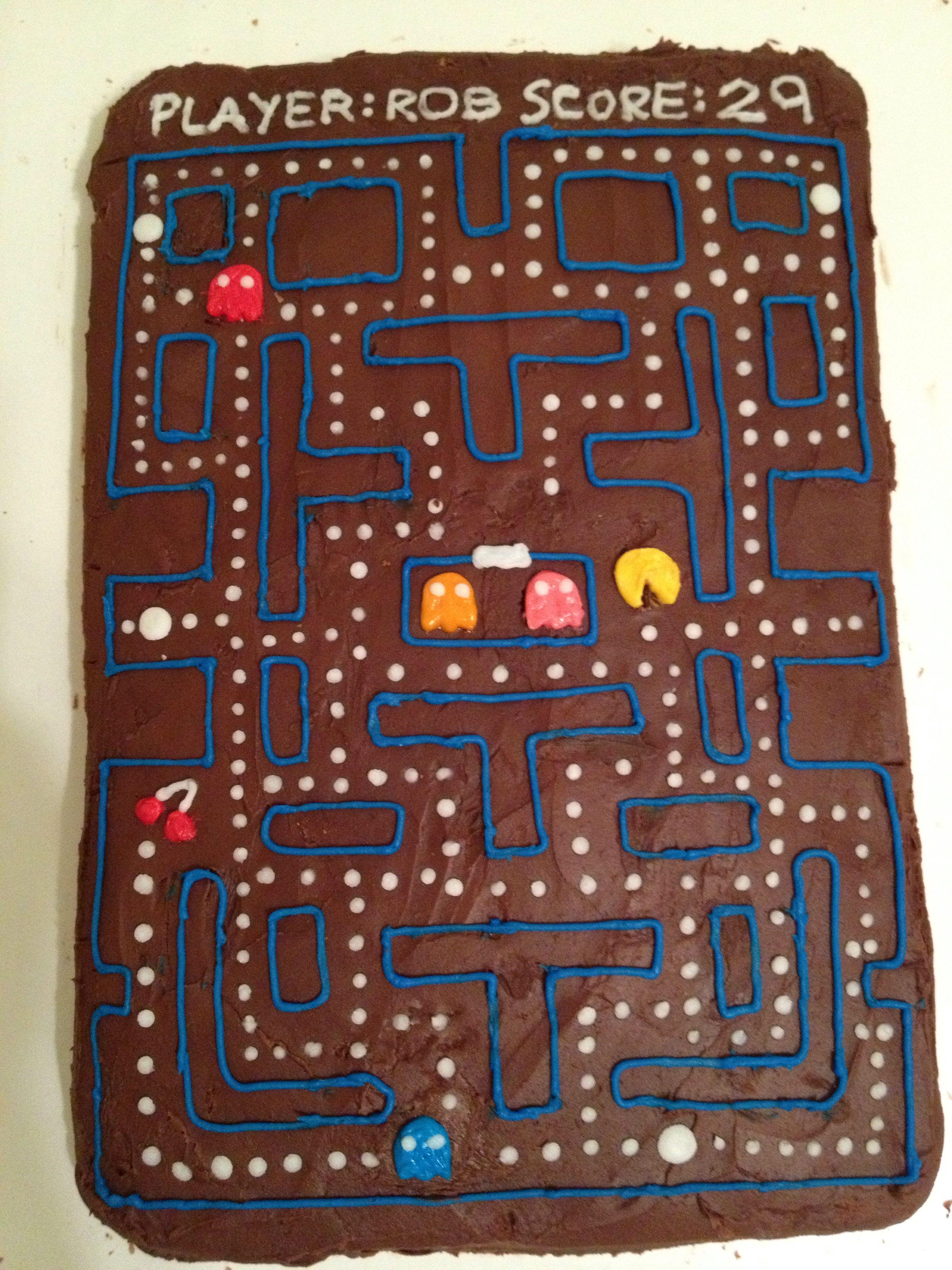 PacMan birthday cake for a retro video game theme Chocolate