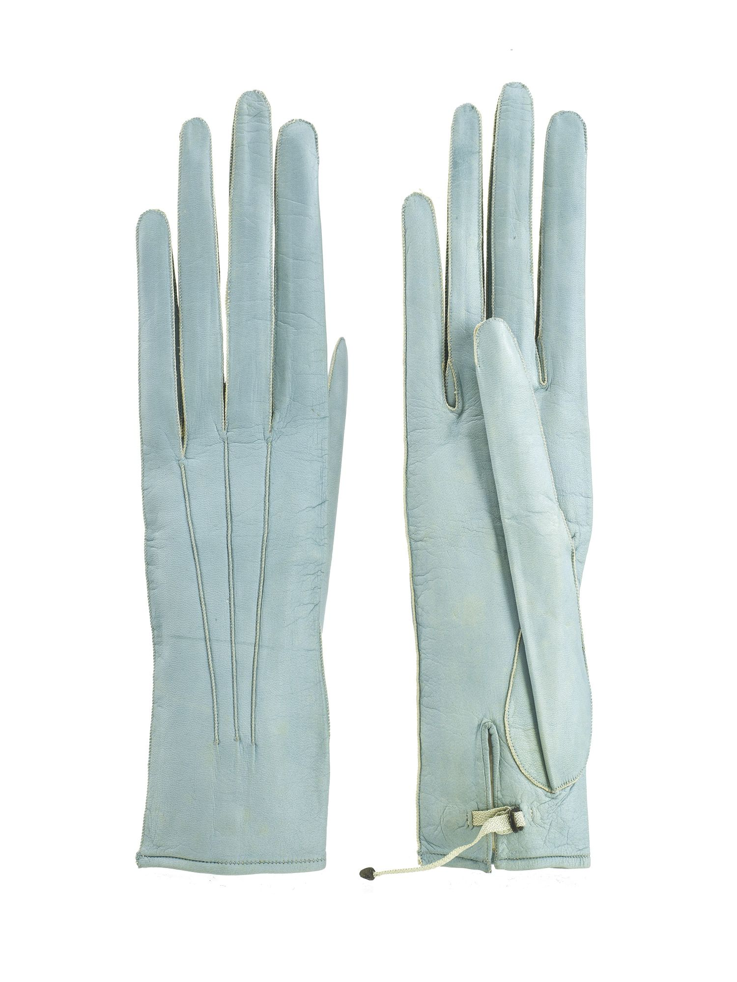 Womens leather gloves teal - This Is A Pair Of Early 1800s Women S Blue Leather Gloves Gloves Were An