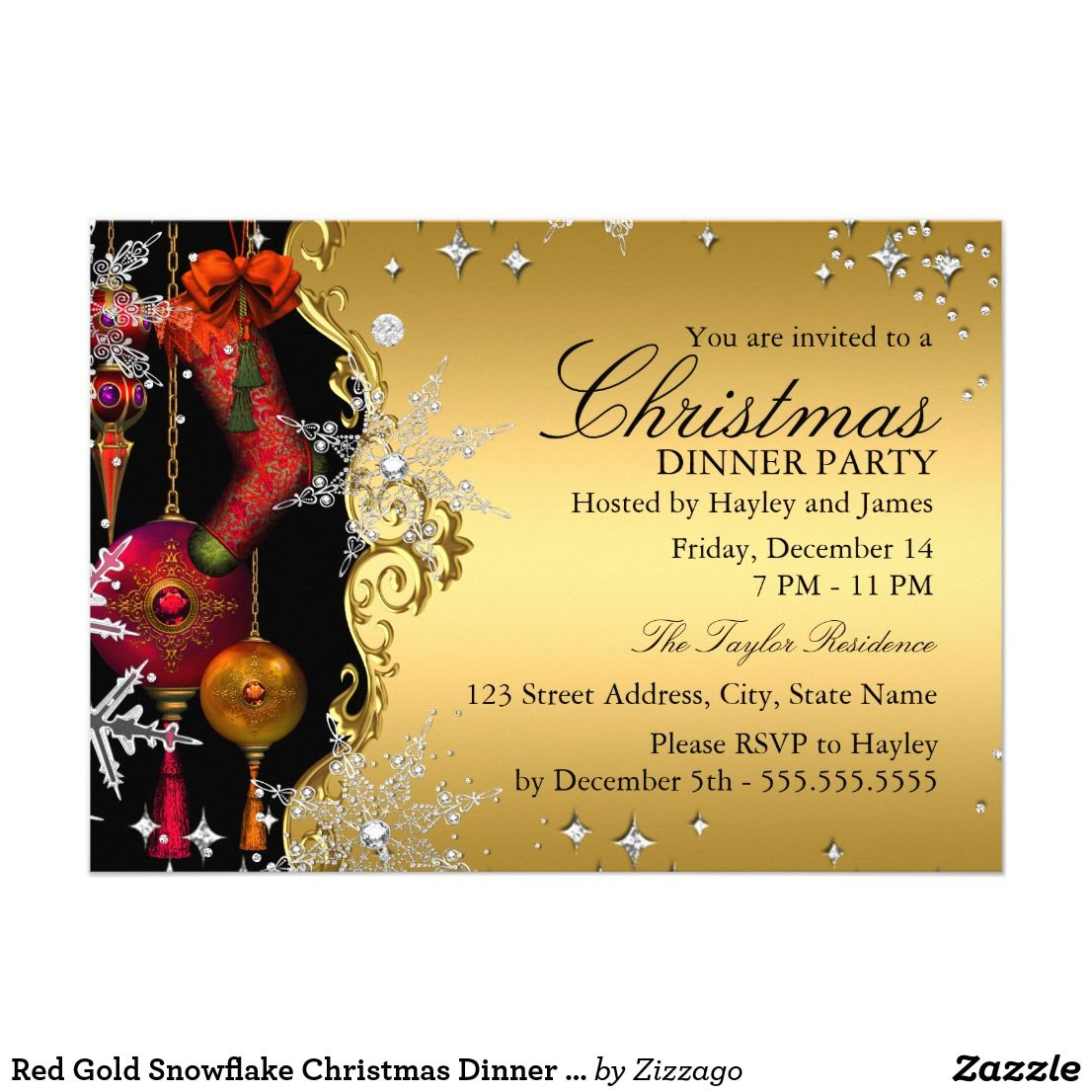Red Gold Snowflake Christmas Dinner Party 4a Card | Dinner party ...
