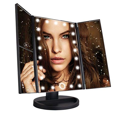 Travel Mirror Tri Fold Lighted Led Mirror With 1x 2x 3x Magnifying