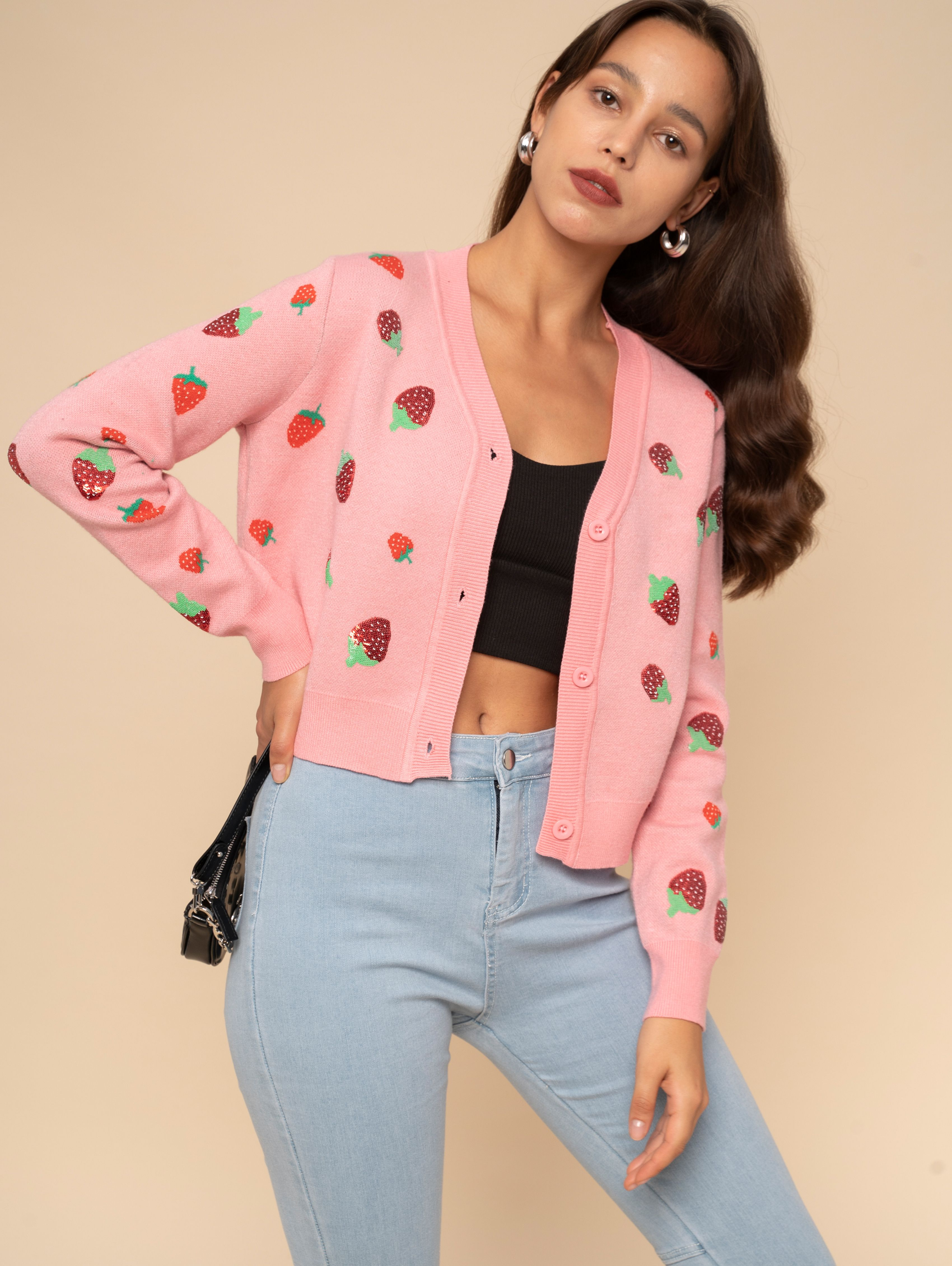 For the Love of Sequins Strawberry Cardigan